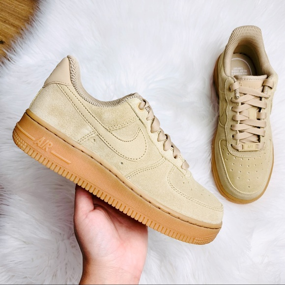 Nike Air Force Low Tan Suede Gum Sole